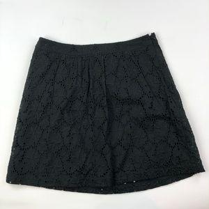 Ann Taylor LOFT 10P A-Line Skirt Black Eyelet Lace